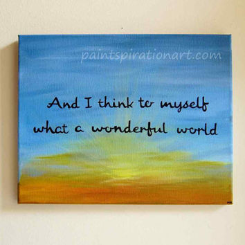 Canvas Painting Of Quotes What A Wonderful World 11x14 - Song Lyrics Art Beach Sunset Wall Hanging