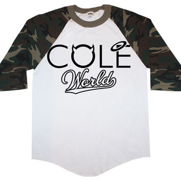 J Cole Camo Baseball T shirt Cole World Crewneck Jay Z Rihanna Roc Nation hoodie