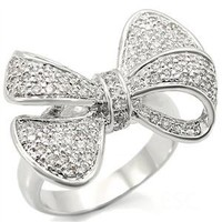 Women's CZ Pave Fashion Bow Ring