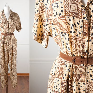 Vintage 90s Silk Jumpsuit | Soft Grunge Jumpsuit Ethnic Print Slouchy Avant Garde Jumpsuit Pants One Piece Playsuit Romper Boho Tribal Print