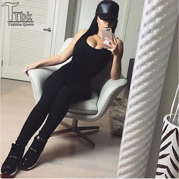 2016 New Sport Sexy Jumpsuit Sleeveless For Women Jumpsuits Club Ladies Rompers Black Bandage Elastic Waistband Macacao Feminino