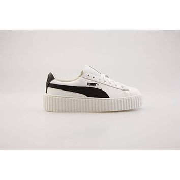 $150 Puma x Fenty By Rihanna Women Creeper - Cracked Leather white