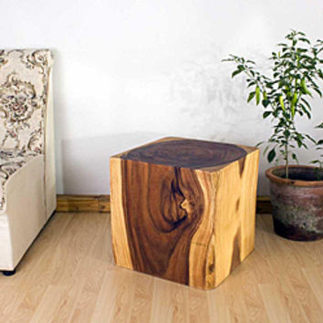 Wooden Cube 18 Oak Oil End Table (Thailand)   Overstock.com