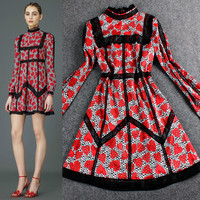 Red Digital Hearts Print Ruched  Collar Lace Swing Dress