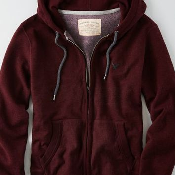 AEO Men's Zip Up Vintage Hoodie (Raisin Red)