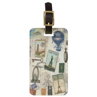 modern vintage travel luggage tag