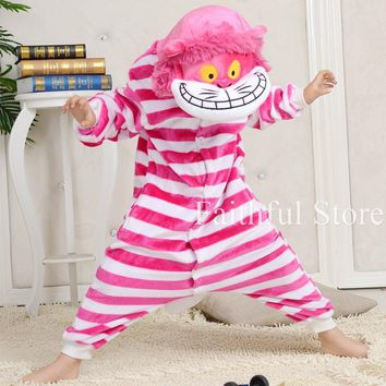Anime Cheshire Cat Animal Children Onesuit Cosplay Pajamas Rompers All In One Carnival Party Costumes Kids Jumpsuits