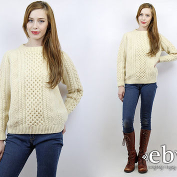 Vintage 70s Cream Cable Knit Sweater S M Cream Sweater Chunky Knit Fisherman Sweater Wool Sweater 70s Sweater Ski Sweater Cream Jumper
