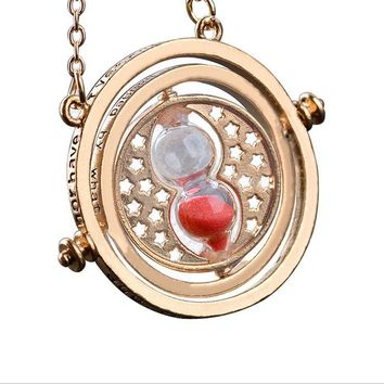2017 Hot Selling Harry Potter Necklace Time Turner Toys Hourglass Necklace Action Figures Hermione Granger Rotating Spins Toy