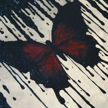 "Original Creepy Painting The Inkblot Butterfly 12"" x 12"" Stretched Canvas"