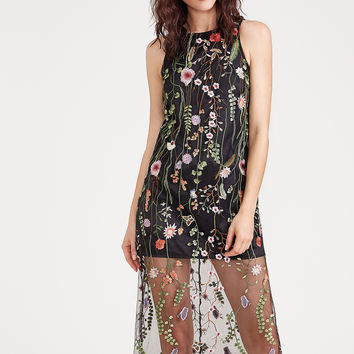 Black Embroidered Mesh Overlay Sleeveless Dress | MakeMeChic.COM