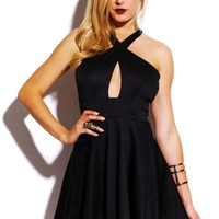 Trendy Cute black wrap front open zip back A line party mini dress for cheap. Womens Clothing -1015store