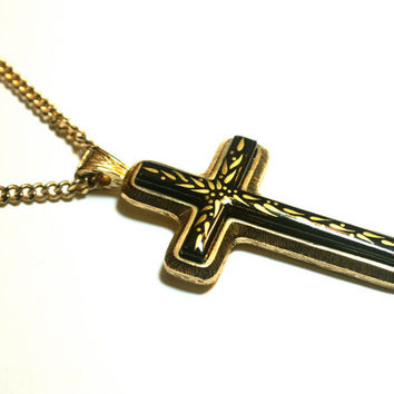 Cross Necklace Sarah Coventry Limited Edition Black Porcelain and Gold Painted Accents