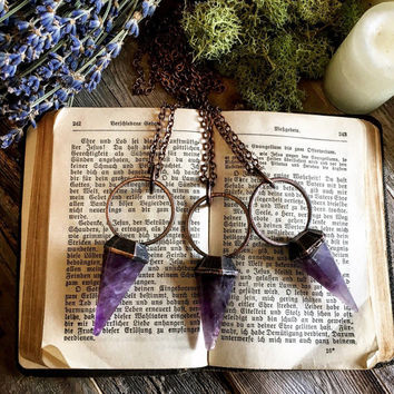 Amethyst Necklace Large Crystal Necklace Crystal Pendulum Necklace Amethyst Pendant Purple Stone Necklace Witch Necklace Gothic Jewelry