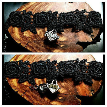 Handmade Valentine Heart Message Love Note Box on Black Rose Lace Choker Necklace Steampunk Heartshaped Jewelry Hearts Gift Custom Length