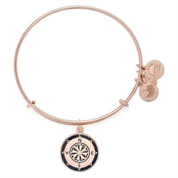 Alex and Ani Charcoal Compass Charm Bangle - Shiny Rose Gold Finish