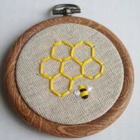 Honey Bee Embroidered Hoop Art  3 inch  Made to Order by HeyAbby