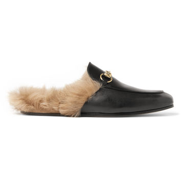 Gucci - Princetown Shearling-Lined Leather Slippers
