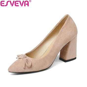 ESVEVA 2018 Women Pumps Sweet Style Spring and Autumn Square High Heels Flock Pointed Toe Butterfly-knot Ladies Shoes Size 34-43