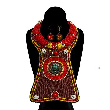 Brown, Yellow, and Red Bead Raised Collar Long Bib Necklace Set with Cowrie Shell Detail