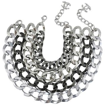 Chanel 13A Chunky Silver Chain Runway Choker Necklace