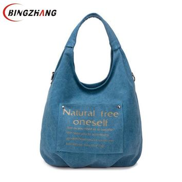 High Quality Canvas Women Bag Handbag Casual Large Capacity Hobos Female Totes Bolsas Vintage Solid Woman Shoulder Bag L4-3122