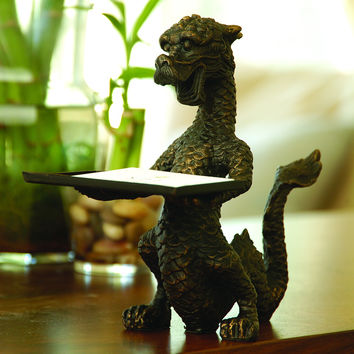 Dragon Business Card Holder 6 1/4 Inches Tall Iron with a Bronze Finish