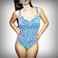Blue Floral Scalloped Bust One Piece Bathing Suit