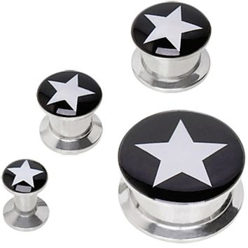 316L Surgical Steel Screw Fit Solid Plug with Star Logo