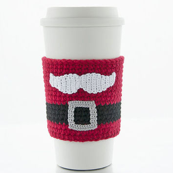 Cup Sleeve, Coffee cozy, crochet santa claus mustache, christmas, winter, belt and buckle, crochet cherry red colored sleeve, white mustache