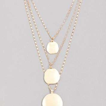 Dainty Layered Chain Disc Charm Necklace