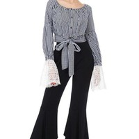 Checkered Lace Bell Sleeve Peasant Top