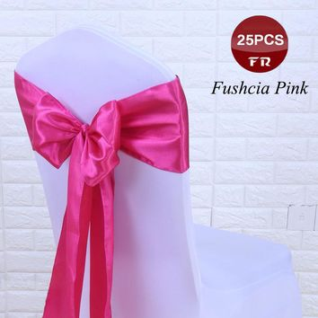 25PC/Set Satin Chair Band Sashes Big Flower Chair Cover Sash Bows for Wedding Decoration Banquet Hotel in Event & Party Supplies