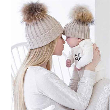 2Pcs Mom And Baby Hats Fashion Winter Hat Crochet Knitting Keep Warm Beanie Cap Chapeau Enfant Bonnet Femme