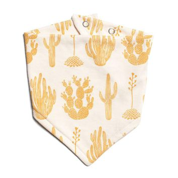 Cactus Yellow Kerchief Bib by Winter Water Factory