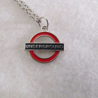 London Underground Charm Necklace - England - Tube - Subway - Anglophile - Red - Blue - Silver tone - Christmas - Holiday - Doctor Who