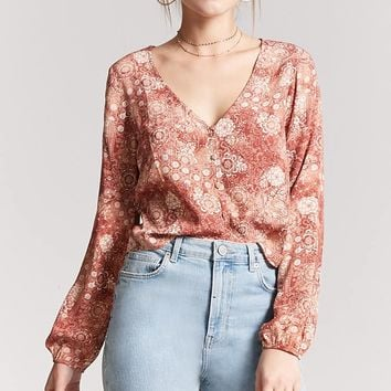Paisley Floral Button-Front Top