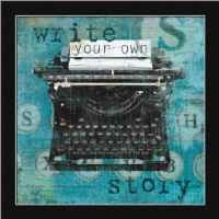 Write Your Own Story by Carol Robinson Turquoise Typewriter Framed Art Print Picture Wall Decor