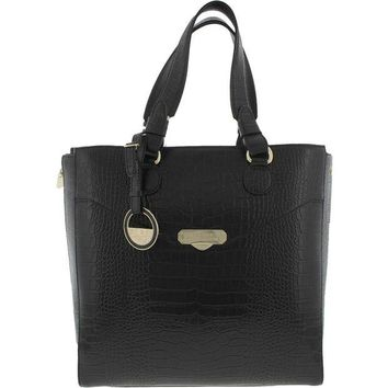 DCCKIN9 Versace Collection Womens Leather Embossed Tote Handbag