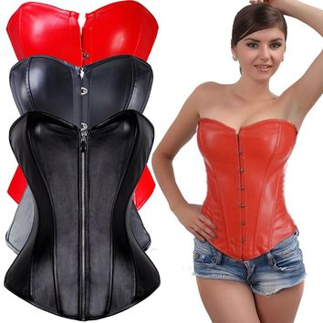 Gothic Punk Black Faux Leather Plus Size Steampunk Corset Overbust Waist Trainer Corselet Sexy Corsets And Bustiers S-6XL