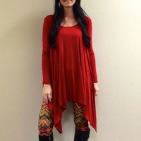 Red oversize top from Ritzy Gypsy Boutique