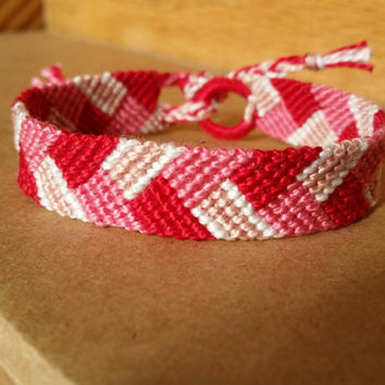 Red and Pink Pretty in Love Handmade Friendship Bracelet