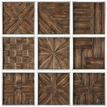 """Uttermost Bryndle 12 1/2"""" Square 9-Piece Wood Wall Art Set - #31C62 
