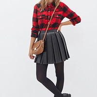 FOREVER 21 Classic Plaid Shirt Red/Black