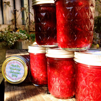 Stuck-Up Cranberry Jalapeno Jelly studded with Candied Ginger Crafted by An Experienced Chef