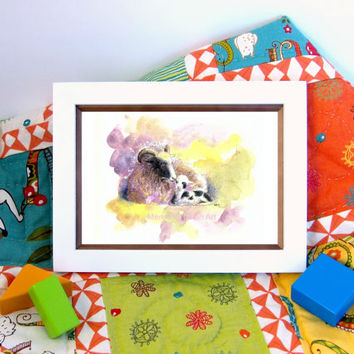 4x6 baby Sheep lamb print painting watercolor mini original nursery art print girl boy farm theme mother gift for her desk art purple yellow