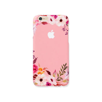 iPhone case - Pink Floral Ring (hard shell) - iPhone 6 case, iPhone 6s case, iPhone 6 Plus case, Good Luck Gold Sticker, non-glossy C18