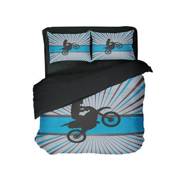 Aqua Blue Burst Motocross Comforter Set from Extremely Stoked