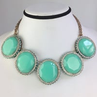 Turquoise Bubble Statement Bib,Designer Inspired Women Necklace,Vintage Chic Chain,Gift Necklace for Her
