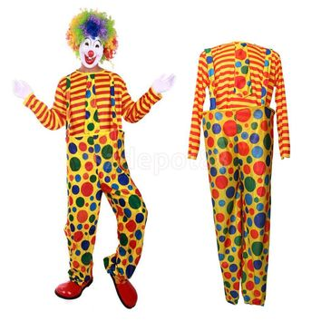 Circus Clown Costume Comedy Spotted Suspender Pant Striped Tops Halloween Masquerade Cosplay Fancy Dress